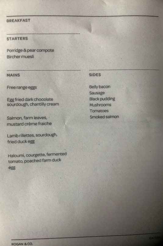 Breakfast menu for Rogan's