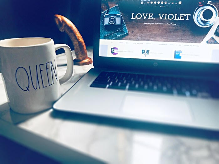 laptop, coffee cup and dildo: a sex blogger's still life