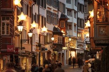 Christmas decoration of Augustinergasse in old town of Zurich, Switzerland.