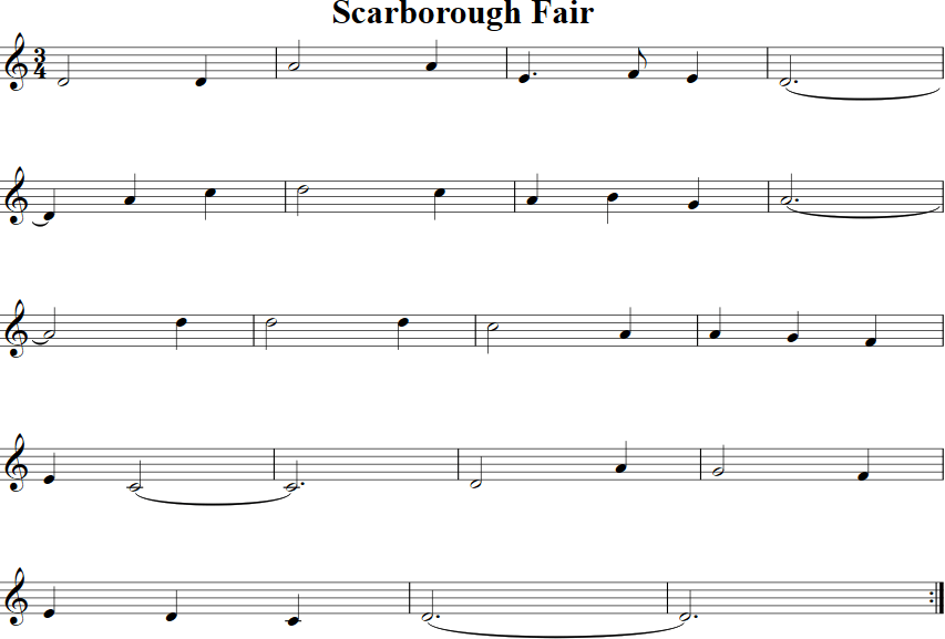 Scarborough Fair  Free Violin Sheet Music