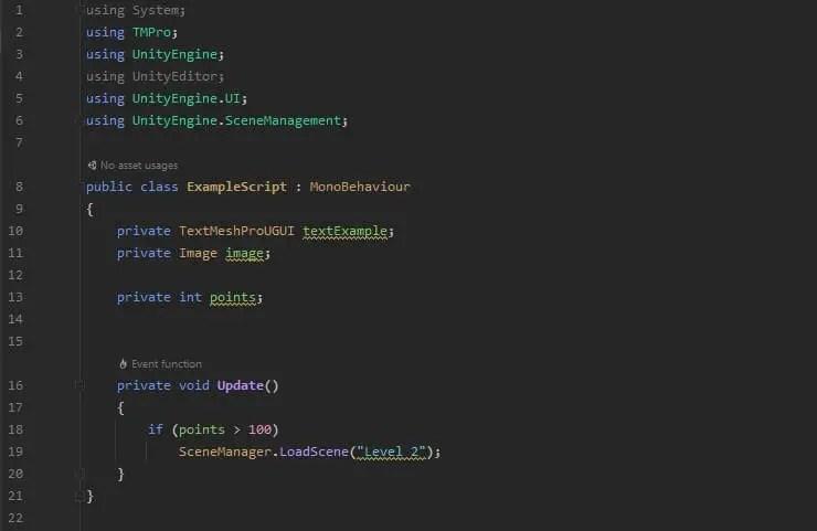 Unity load scene code