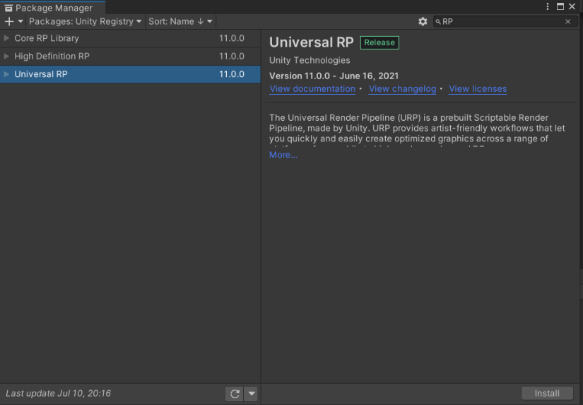 Install URP using package manager