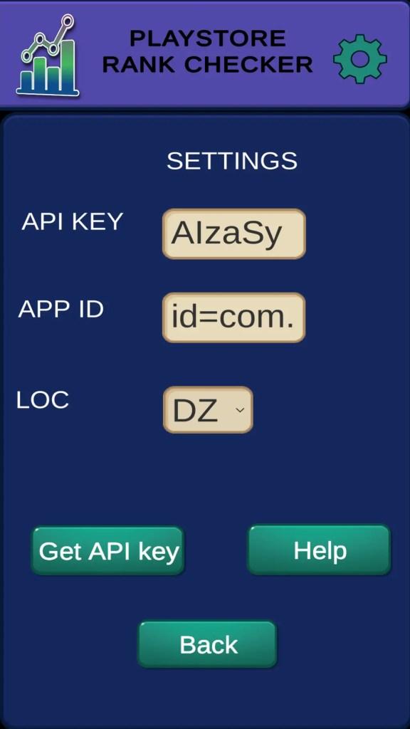 app rank checker settings menu
