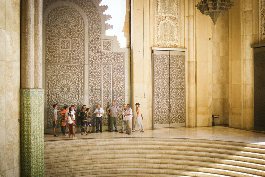 Casablanca mosque tourists by Vipasana Roy