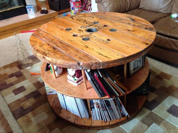 coffee table made of cable spool | coffee tables
