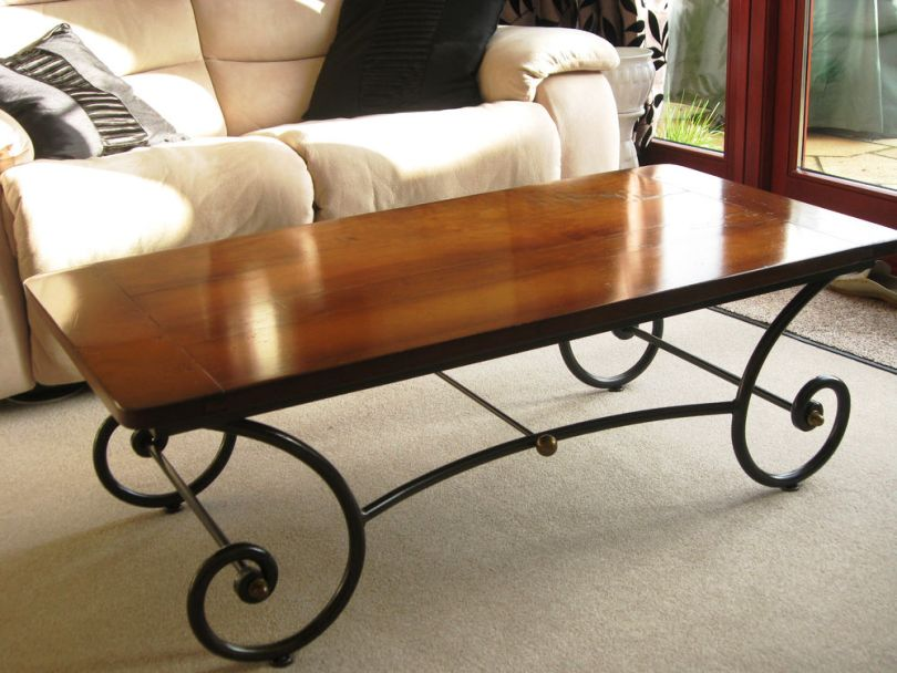 wrought iron coffee table with wooden top coffee tables