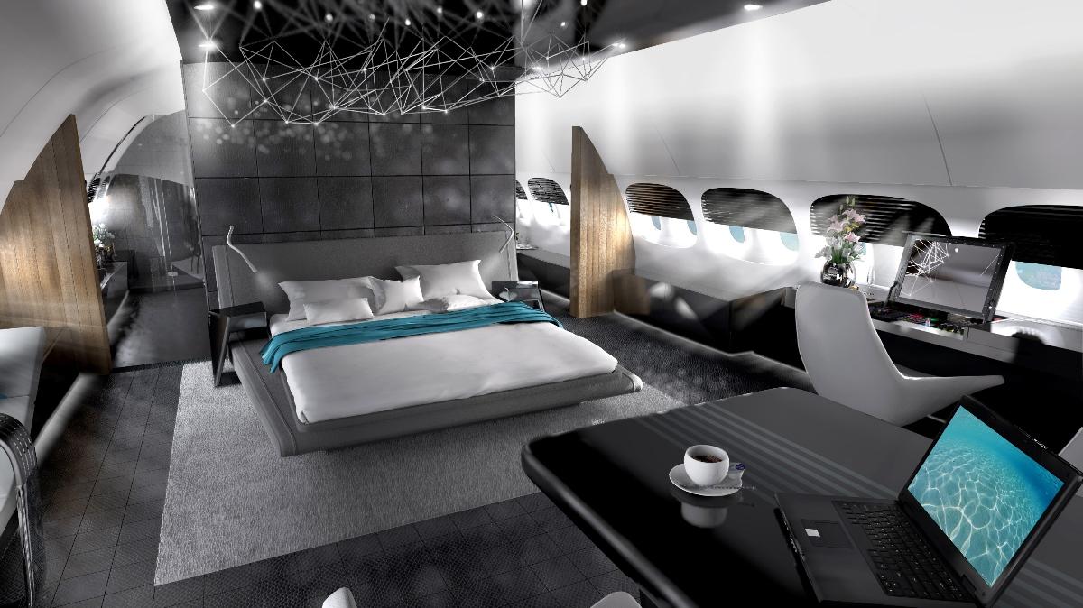 Private jet interior furnished like a vintage train aviation - Private Jet Interior Design Vip Completions