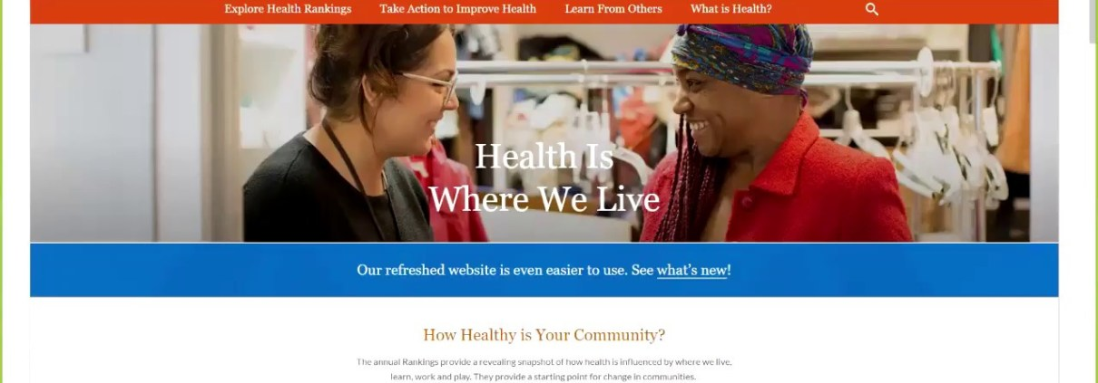 Webinar: NEW County Health Rankings & Roadmaps Website Tour - Dec. 19, 2017