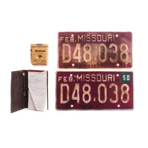 Fargo Odis Weff Jack Huston Screen Used License Plates Pack Of Cigarettes & Notebook W/ Pencil Ss 402