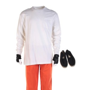 Lot #53 – Bill & Ted Face The Music (2020) Ted Keanu Charles Reeves Prison Uniform Ch 1 Sc 57-58