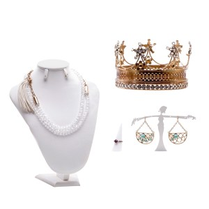 Lot #25 – Vikings Production Worn Crown Ring Set Earrings & Necklace