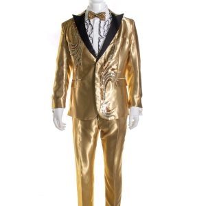 Lot #58 – Bad Trip Bud Malone Lil Rel Howery Screen Worn Suit Vest Shirt Bow Tie Cufflinks Hat & Shoes