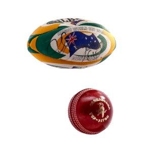 Lot #83 – Cinderella Man (2005) Production Used Mini Rugby And Cricket Ball Set