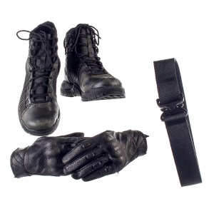 Lot #32 – Altered Carbon (2018-2020) Wedge-Simone Screen Worn Stunt Double Gloves Belt & Shoes Ep 206