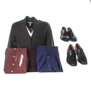 Lot #76 – Respect CL Franklin Forest Whitaker Production Closet Sweaters & Shoe Sets