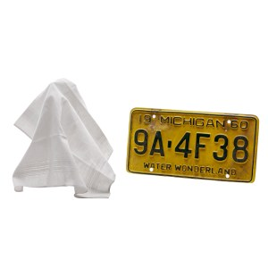 Lot #20 – Respect CL Franklin Forest Whitaker Screen Used Handkerchief & License Plate Sc 26-28
