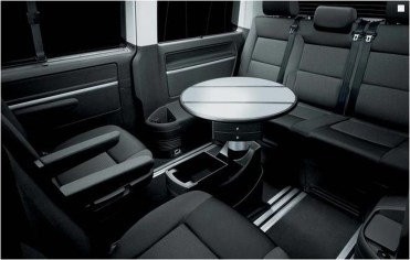 The luxurious and versatile interior of our VW tour vehicle