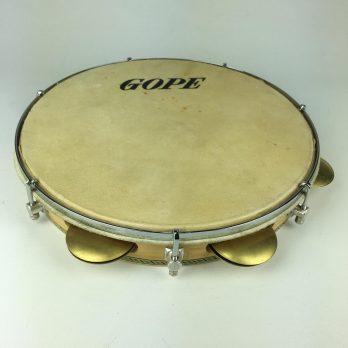 "Gope Pandeiro, 10"" wood shell, skin head, flat rim, brass jingles"