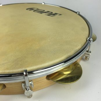 """Gope Pandeiro, 10"""" wood shell, skin head, round rim, brass jingles"""