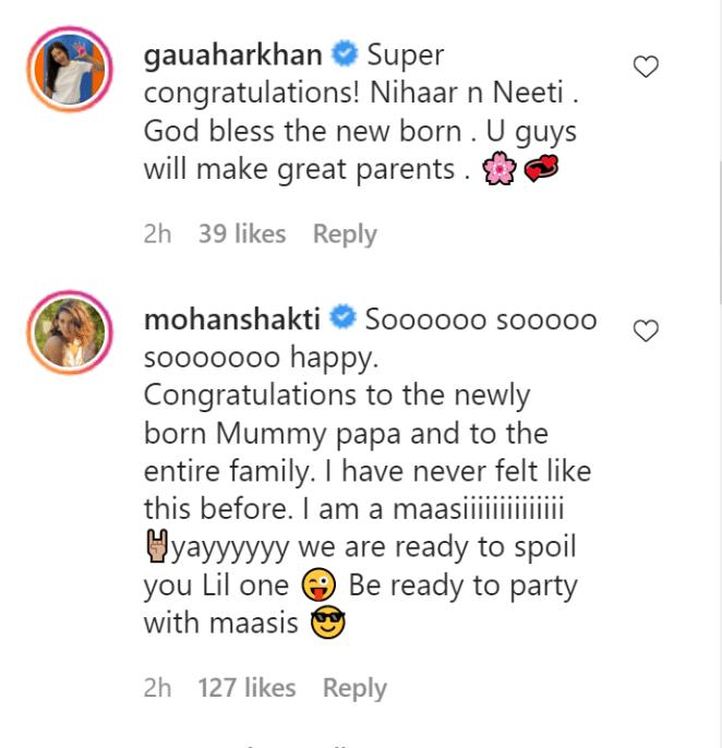Neeti Mohan Welcomes Baby Gauhar Khan wishes