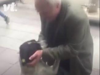mand genforenet med hund