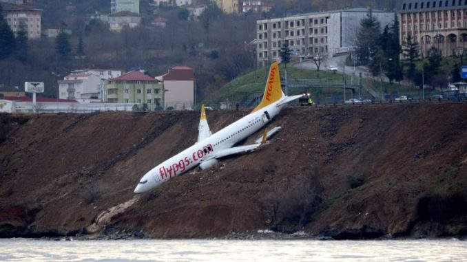 A plane in turkey almost fell in water. [Image Credit: NTD]