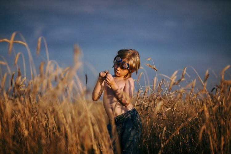 Kid Playing with Wheat