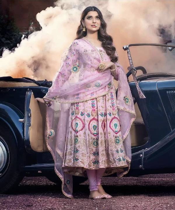 Classy Pink Anarkali with a Pajami