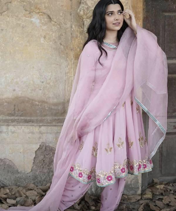 Soft Rose Short Anarkali with Dhoti Salwars