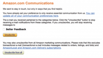 Amazon Opt Out Communications Seller Feedback