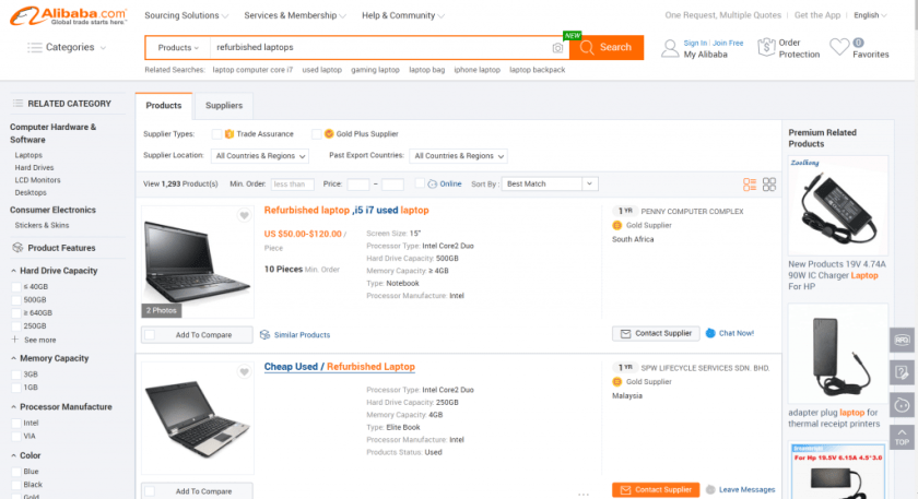 refurbished products on Alibaba