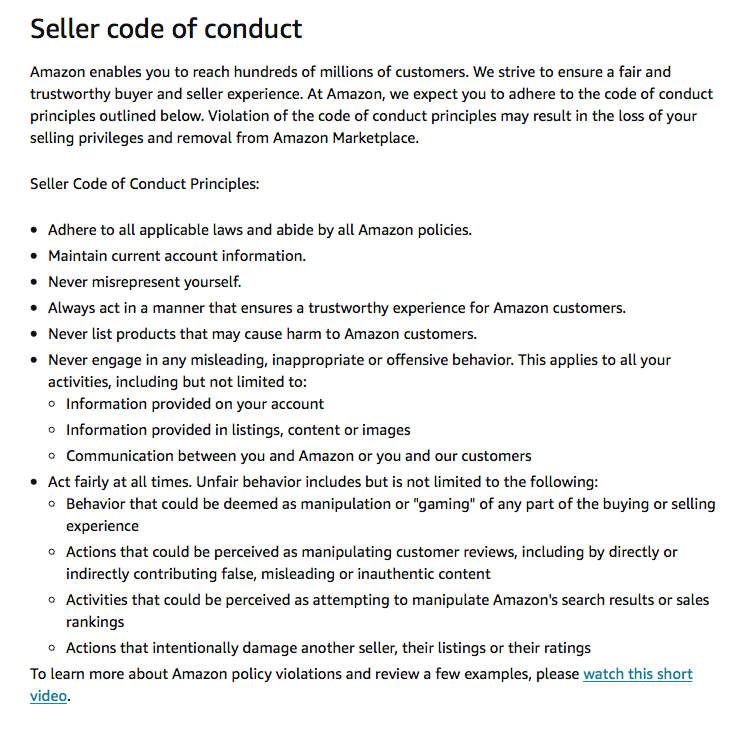 Amazon code of conduct