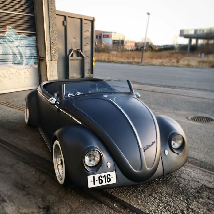 This Guy Transformed A 1961 VW Beetle Deluxe Into A Black Matte Roadster