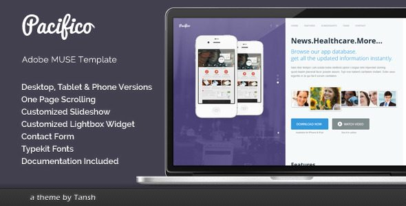 Pacifico One Page Muse Template Free Download