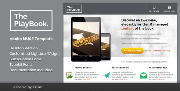 The PlayBook Muse Landing Page Template free download