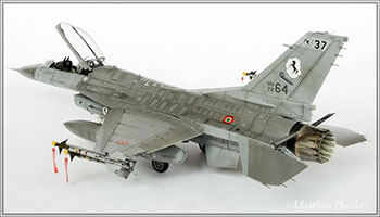 "Fig 19. 1/48 scale model F-16. The detail and weathering retained on this model despite its reduction in size demonstrate its status as a model or collectible. ""Eduard's 1/48 Scale f-16 'NATO Falcons.'"" HyperScale. 16 January 2013. Web. 7 July 2016. Image copyright Matthias Becker 2013."