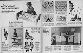 Fig 25. Housekeeping section of Childcraft magazine. Toys That Teach. 1967. New York: Childcraft Education Corp., 1967. Print.