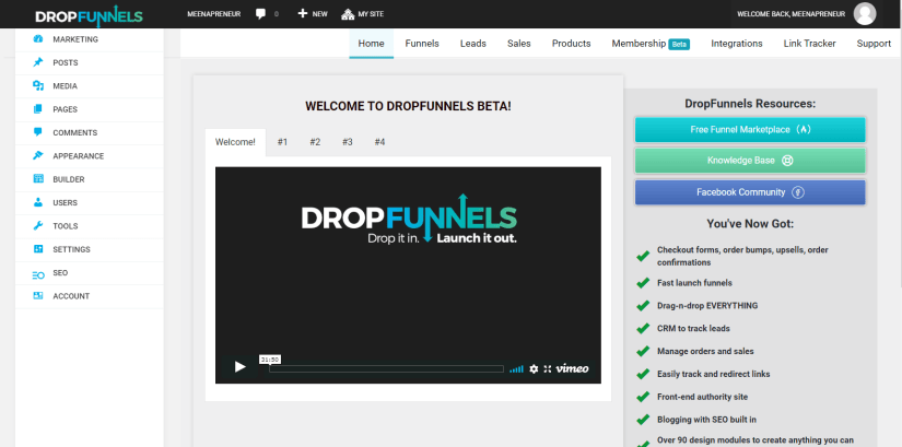 Dropfunnels wordpress
