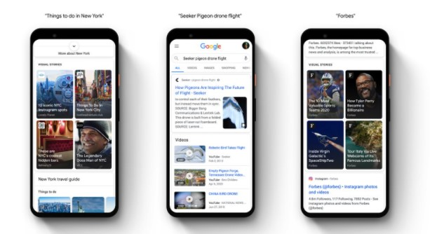 Examples of Google Web Stories in various locations.