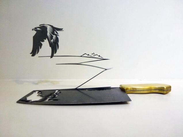 Vogel silhouetten gesneden uit slagersmes