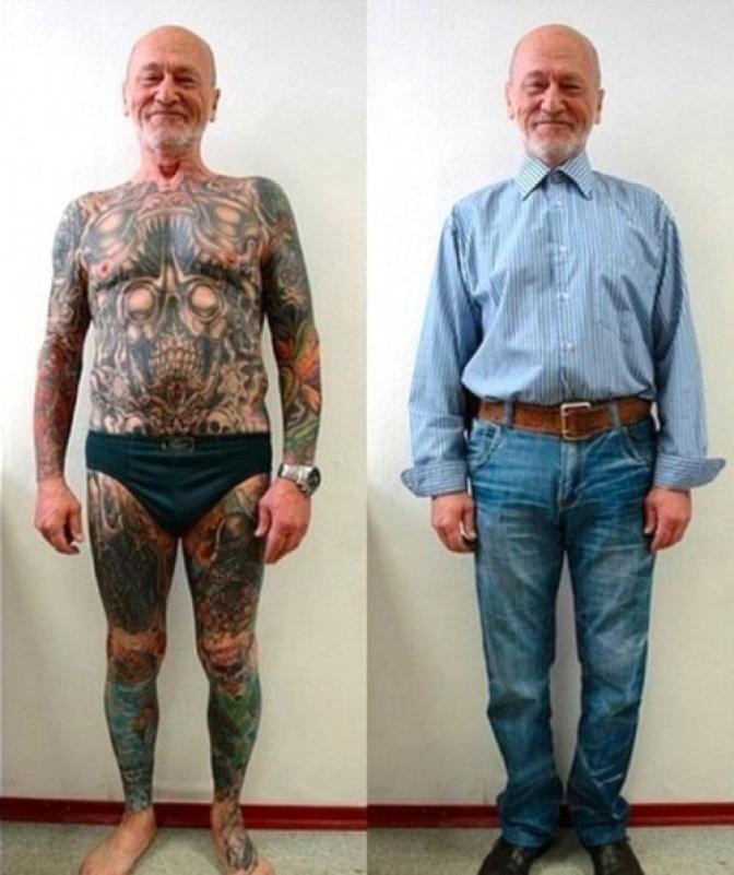 Senioren met tattoos