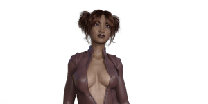 Black girl in a leather erotic suit