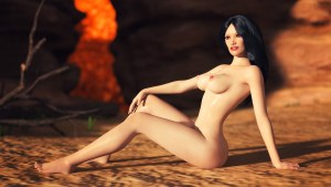 "Picture from the porn game ""Fight witches"" by Virtual Passion. Naked woman sit in the desert"