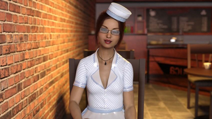 3Д картинка девушки официантки, сидящей в баре