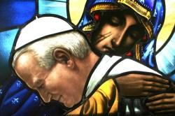 Vitral retratando o atentado contra o Papa