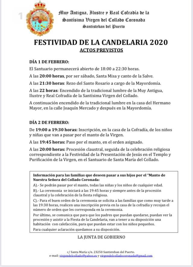 Actos para la Festividad de la Candelaria 2020