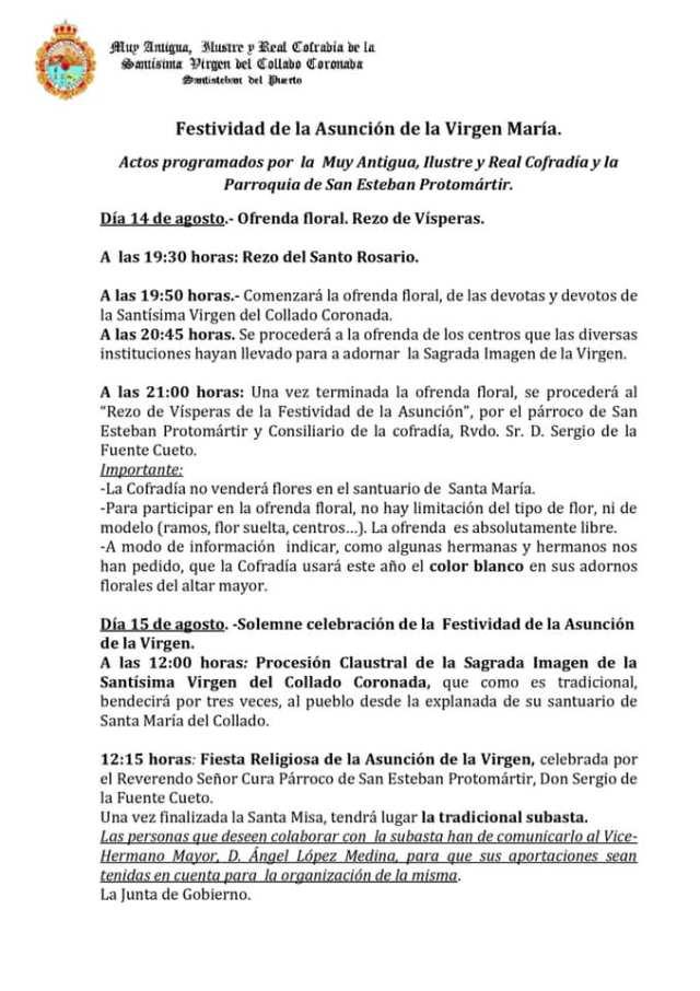Actos programados para la Festividad de la Asunción