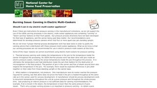 National Center for Home Food Preservation | NCHFP Publications | Burning Issue: Canning in Electric Multi-Cookers