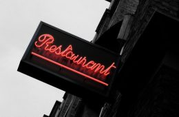 Photo of Neon Pink Restaurant Sign.