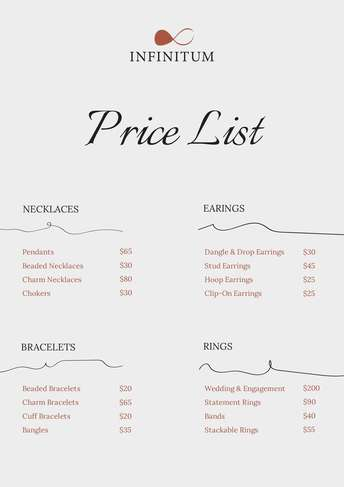 One of the first things you must do when starting a new business is determine how much to charge for your products and services. Jmenem Maniak Pachatel Price List Template Design Apartmentsmarasovic Com